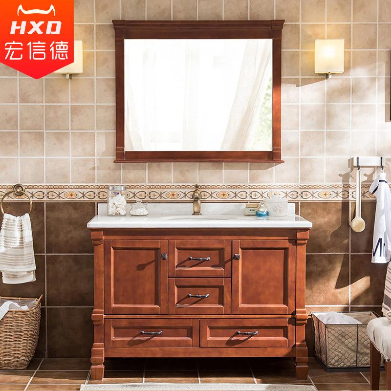 HONGXINDE Tủ phòng tắm Mỹ kết hợp sàn gỗ phòng tắm gỗ vanity sồi vanity vanity chậu rửa phòng tắm