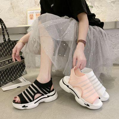 giày bánh mì / giày Platform Dép thể thao nữ mùa hè 2020 phiên bản mới của Hàn Quốc của bánh xốp có