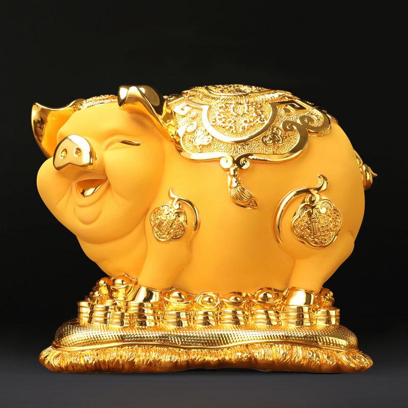 LANGREN Đồ trang trí bằng cao su Heo vàng trang trí ngân hàng heo lớn thêm nhựa thủ công lợn năm kin