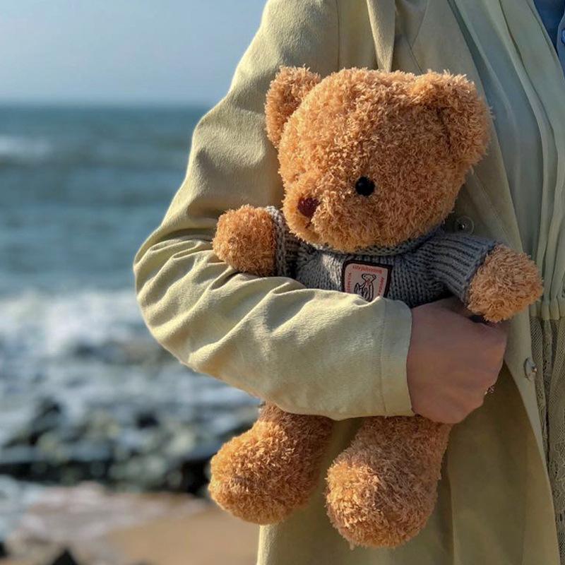 MENGZAI Búp bê vải Nhà sản xuất áo len lông cừu rong biển gấu bông khăn quàng cổ gấu búp bê rag búp
