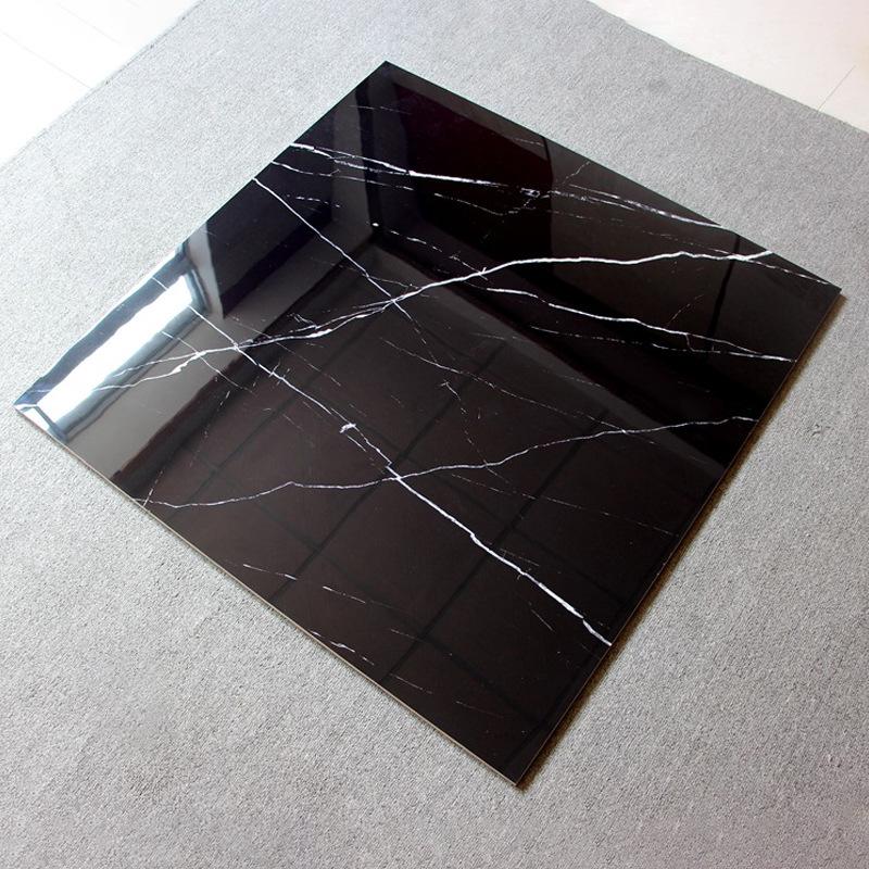 DESHENGJU Gạch men sứ Gạch lát sàn phòng khách màu đen đầy đủ lát gạch men 800 * 800 lát sàn TV TV n
