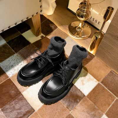 giày bánh mì / giày Platform Giày phong cách Anh retro nhỏ 2020 Giày nữ mới muffin đế dày Giày đế mề