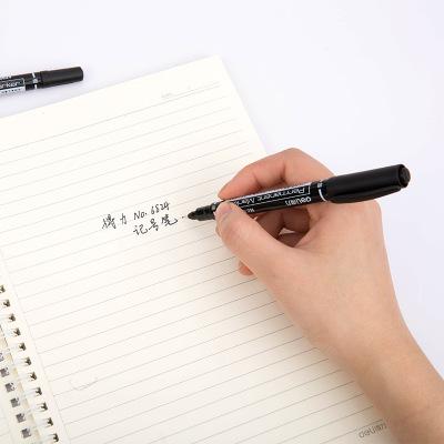 DELI Bút dạ quang Hiệu quả 6824 bút đánh dấu độ dày hai đầu màu đen bút sinh viên móc dầu bút bút đá