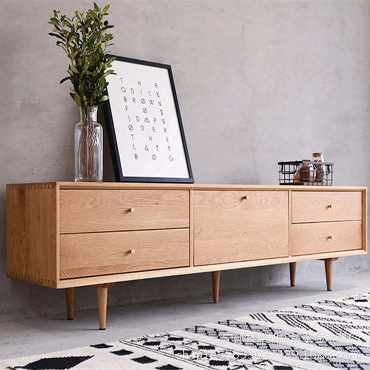 YW Bàn trà Gỗ sồi trắng Bắc Âu gỗ rắn TV tủ đăng nhập tùy chỉnh nghe nhìn căn hộ nhỏ căn hộ bàn cà p