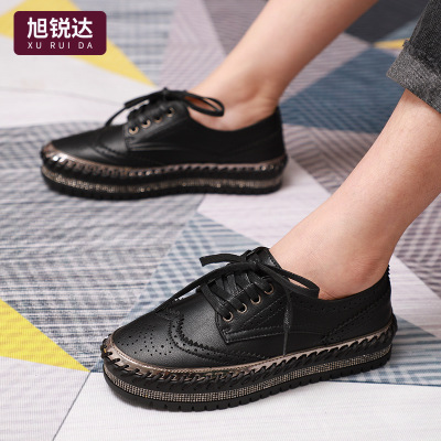 XURUIDA giày bánh mì / giày Platform Không có keo may retro mùa thu và mùa đông mới Giày đế dày màu