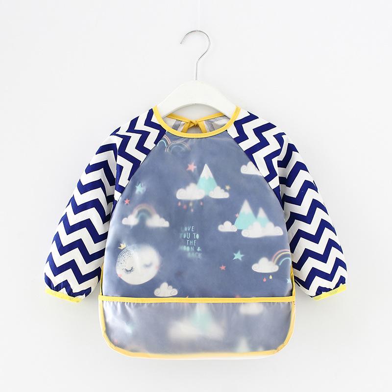Áo khoác Quần yếm trẻ em không thấm nước dài tay chống mặc quần áo trẻ em ăn tạp dề cotton trẻ em qu