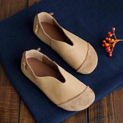 Giày da Giày đẩy mùa xuân mới chính hãng Giày da nữ chính được làm thủ công Lớp đầu tiên của giày da