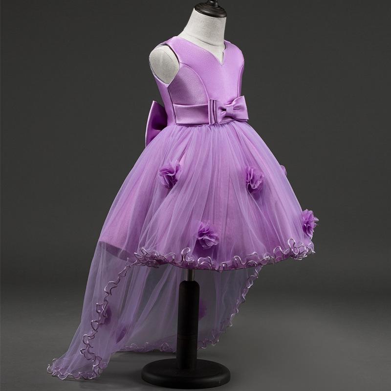 CARISA Trang phục dạ hôi trẻ em Đầm công chúa váy cưới váy cưới đuôi váy hoa đỏ nơ trình diễn mùa th