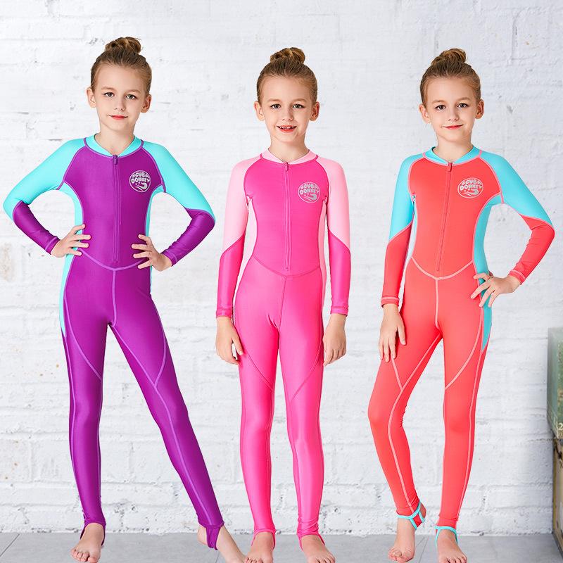 Hisea Đồ chống nắng mau khô Quần áo trẻ em mới cho bé gái bộ đồ bơi chống nắng màu sắc phù hợp với q