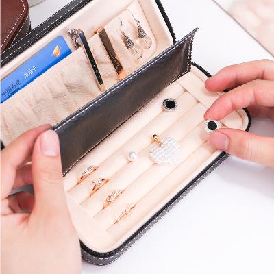 Hộp trang sức Zipper hộp đồ trang sức bông tai nhẫn hộp khuy măng sét lưu trữ hộp đồ trang sức cầm t
