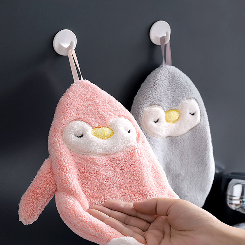 khăn lau tay Yi Mai Shi dễ thương chim cánh cụt nhà bếp treo khăn dày san hô lông cừu làm sạch khăn