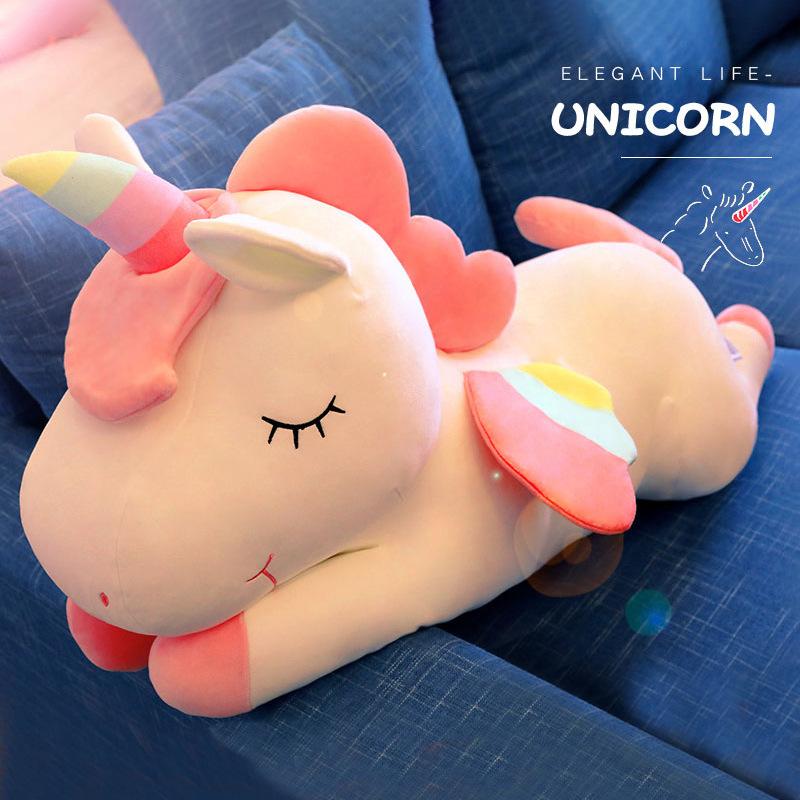 YIMEI Búp bê vải Mới Lớn Rag Doll Girl Đồ chơi sang trọng in Unicorn Doll Sáng tạo Quà tặng Sinh nhậ