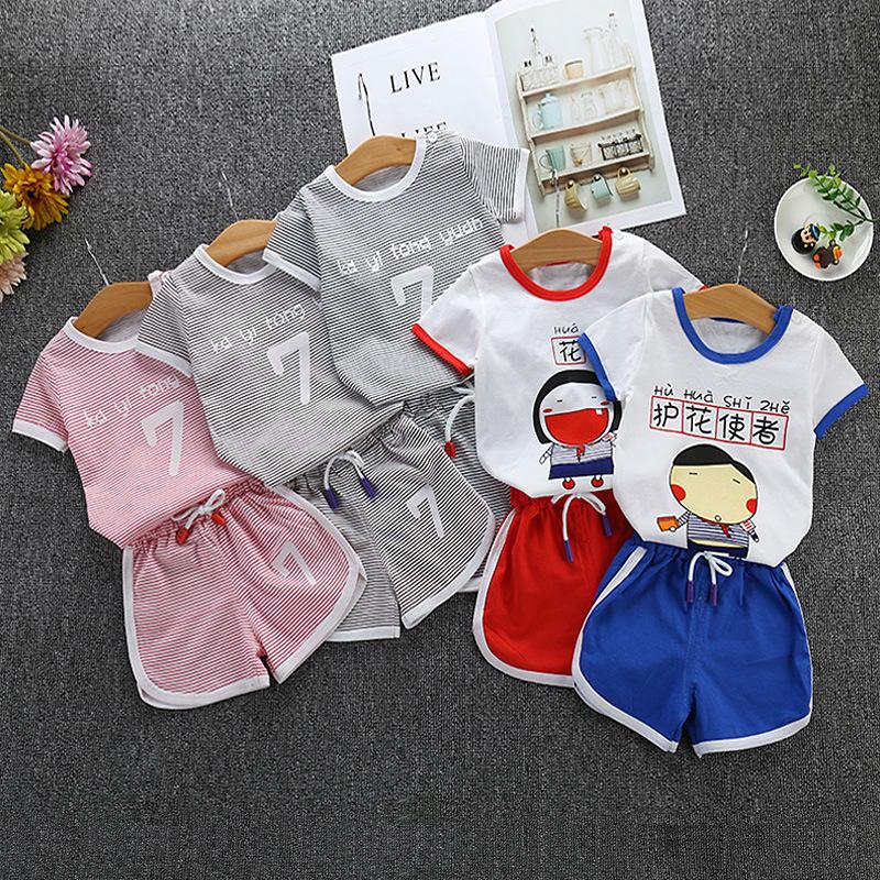 KYTY Đồ Suits trẻ em Mùa hè mới cho trẻ em quần short ngắn tay bé trai và bé gái cotton phù hợp với