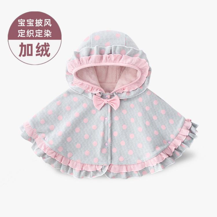 ANBLOO Áo choàng trẻ em Quần áo mùa thu và mùa đông cho bé gái Hàn Quốc áo choàng bé gái dày nơ khăn