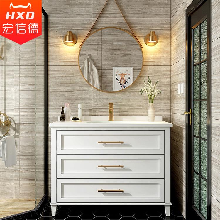 HONGXINDE Tủ phòng tắm Tủ quần áo gỗ sồi Bắc Âu kết hợp hiện đại đơn giản rửa tay chậu rửa sàn tủ gỗ