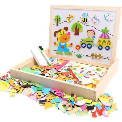 MWZ Xếp hình 3D bằng gỗ  Câu đố ghép hình từ tính cho trẻ em trí não đa năng 3-6 tuổi 2 bé gái bé tr