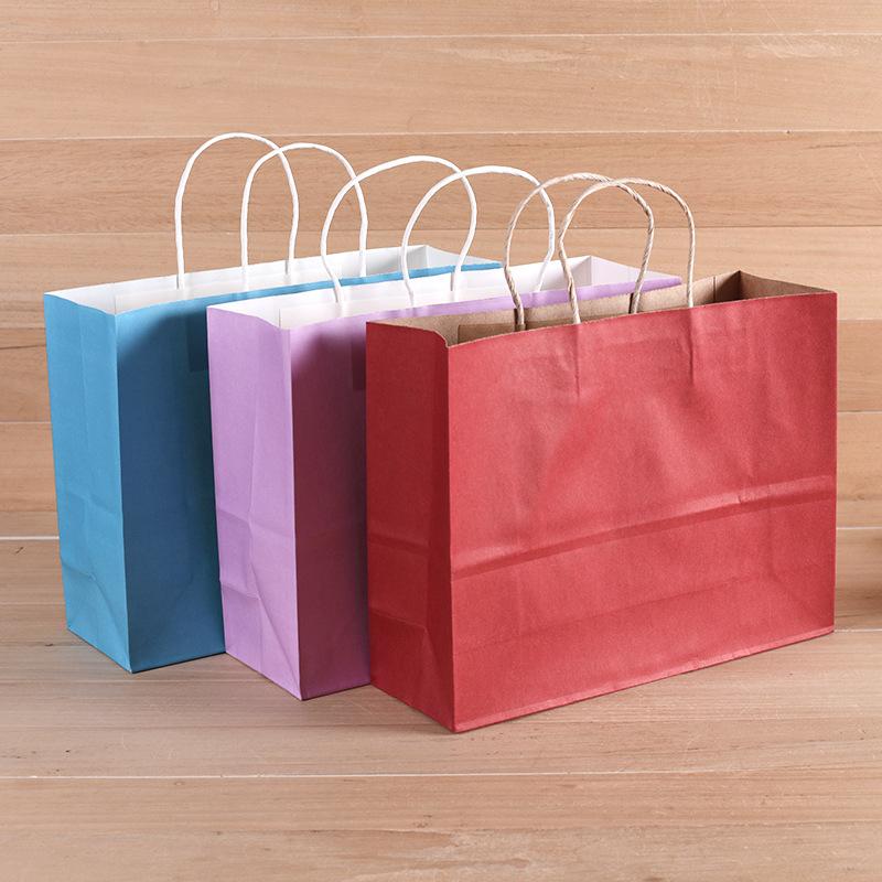 FUJIANG Túi giấy kraft tùy chỉnh, túi mang đi phục vụ, quần áo mua sắm, túi quà tặng di động, logo