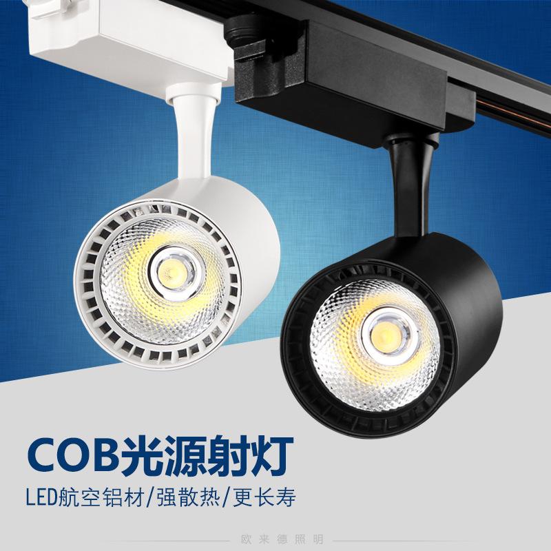 Đèn LED gắn ray Bán buôn đèn LED theo dõi 20W30W cửa hàng quần áo đường sắt COB spotlight nền tường
