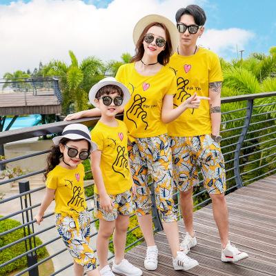 SHATANQINQING Áo thun gia đình 2019 mới trang phục bố mẹ-con giải trí du lịch áo thun ngắn tay màu v