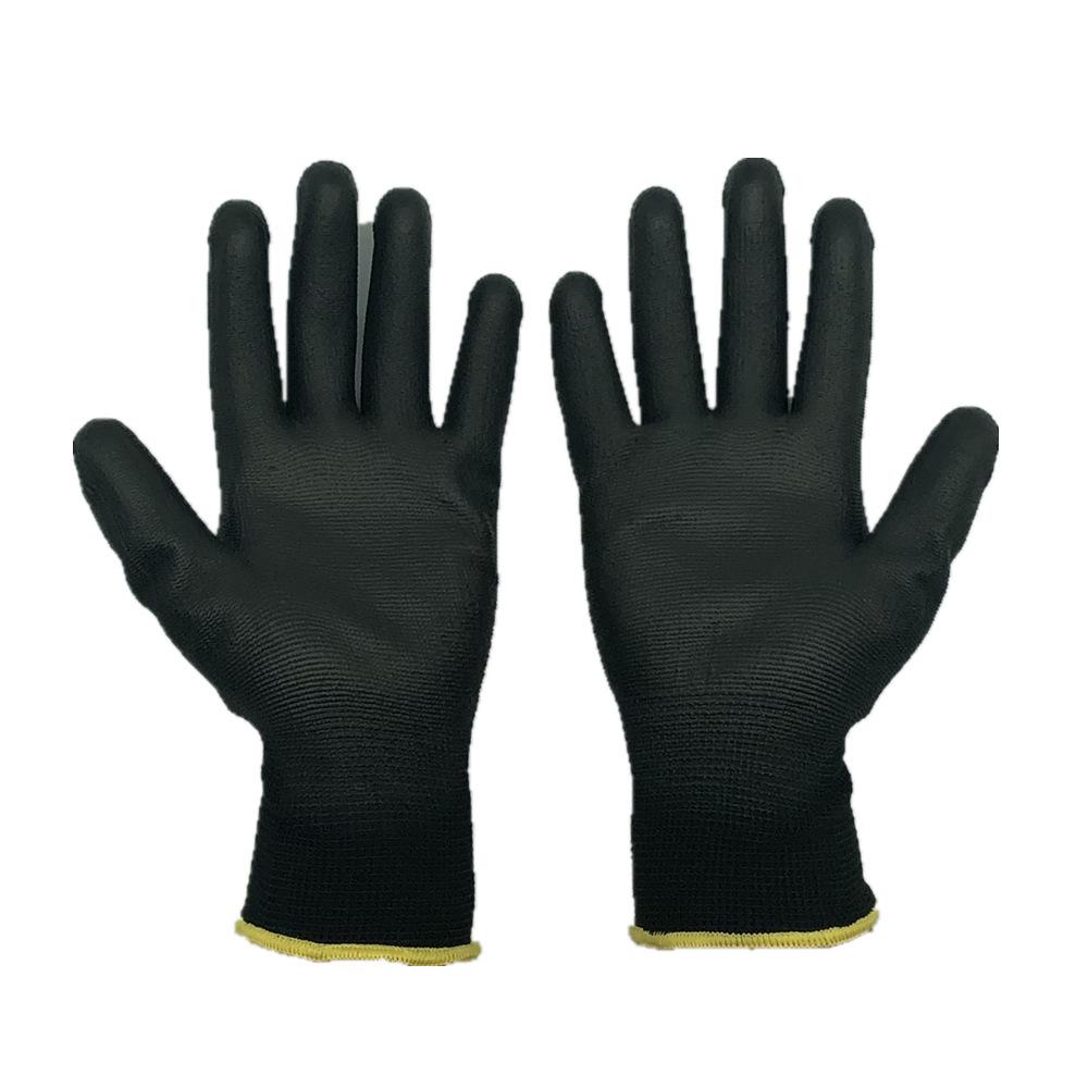 Găng tay bảo hộ Pu tráng cọ đen chống tĩnh điện nhúng cọ cọ tráng phủ pu 13-polyester polyester chốn