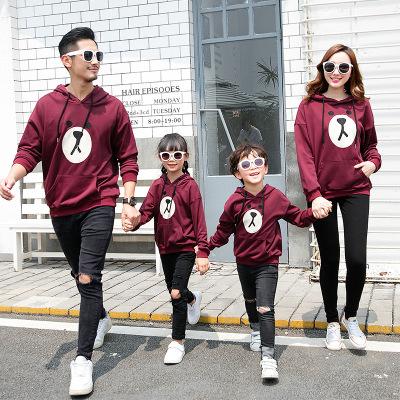 BEIBEITU Áo thun gia đình Áo len mẹ-con 2018 làn sóng mới của cả gia đình Phiên bản Hàn Quốc của hai