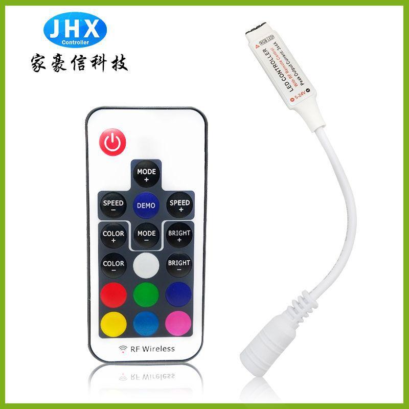 JHX Thiết bị điều khiển đèn Bộ điều khiển không dây đầy màu sắc RF17 Bộ điều khiển không dây mini RG