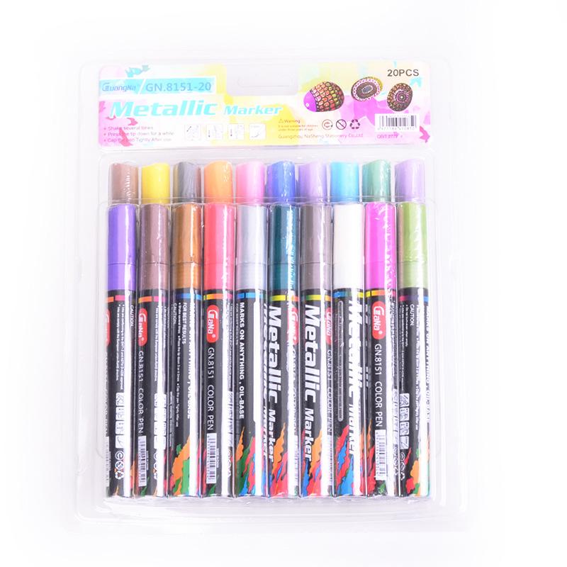 GN Bút dạ quang Quanner bút đánh dấu 8151-20 màu kim loại màu bút đánh dấu bút nước dựa trên thẻ đen