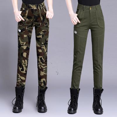 XMXZ Áo nguỵ trang lính Ngụy trang quần áo mới của phụ nữ quân đội quần cao eo căng quần yếm thời tr