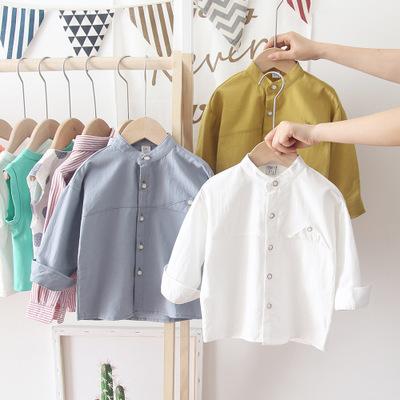 katoofely Áo Sơ-mi trẻ em katoofely2019 mùa thu mới quần áo trẻ em trai trẻ em màu rắn cotton đại lý