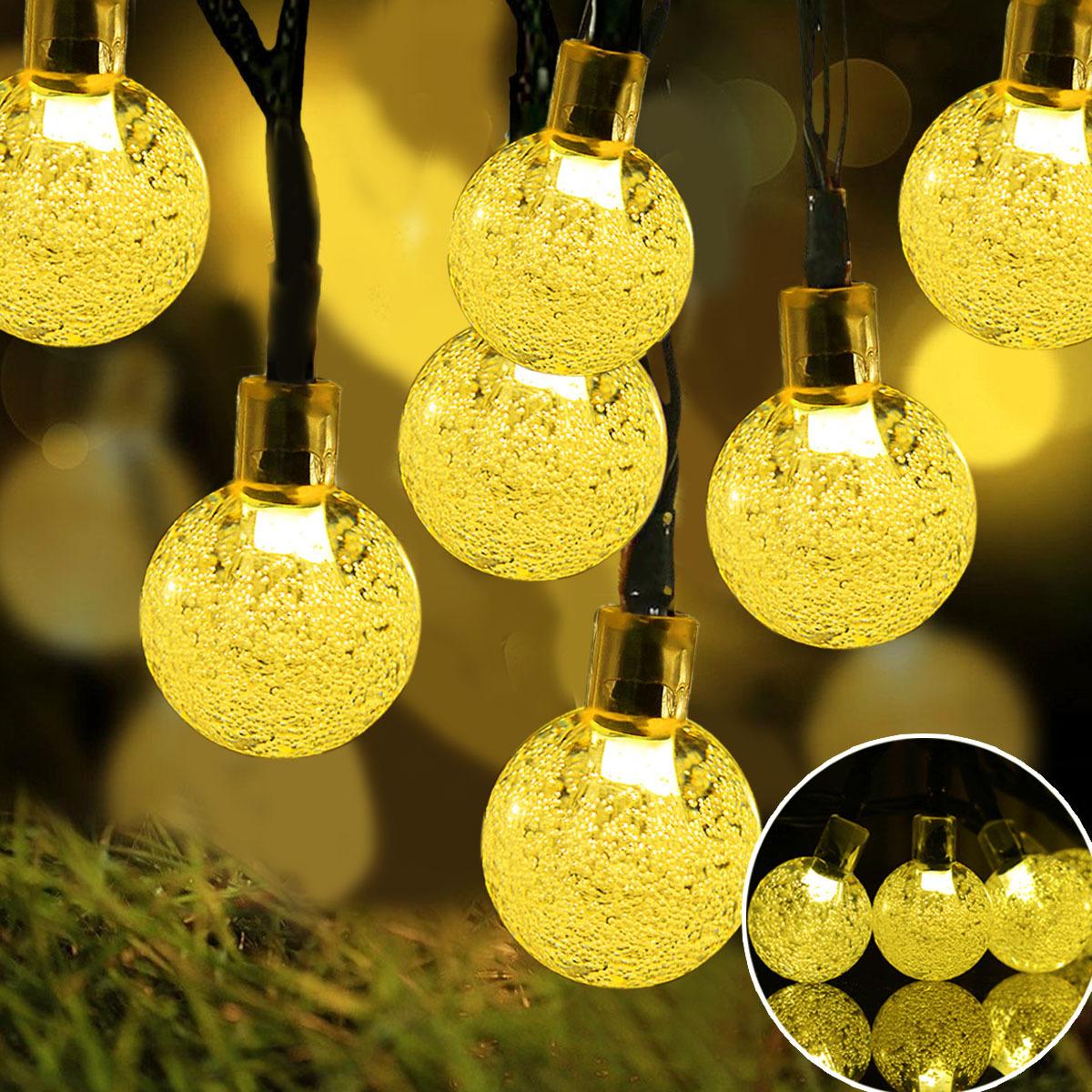 FEIZILIN Đèn trang trì Solar Light String LED Bong bóng trang trí hạt ánh sáng ngoài trời ngày Giáng