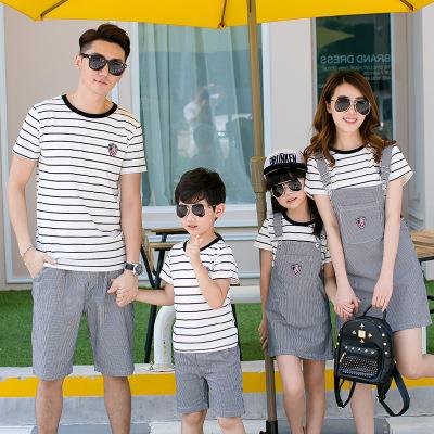 KUAILEBANDI Áo thun gia đình Phụ huynh-trẻ em hè 2018 mới Hàn Quốc phù hợp với phụ huynh sọc trẻ em