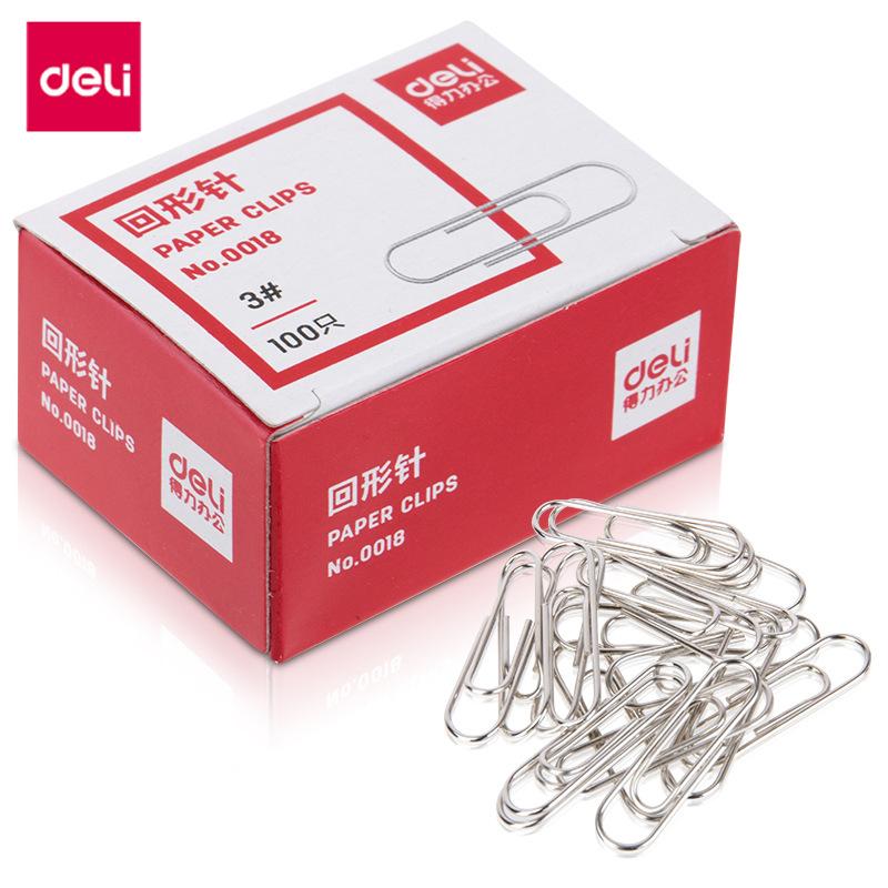 DELI Đồ dùng tài vụ Kẹp giấy mạnh mẽ 0018 kẹp giấy 100 chiếc / hộp kẹp giấy văn phòng cung cấp tài c