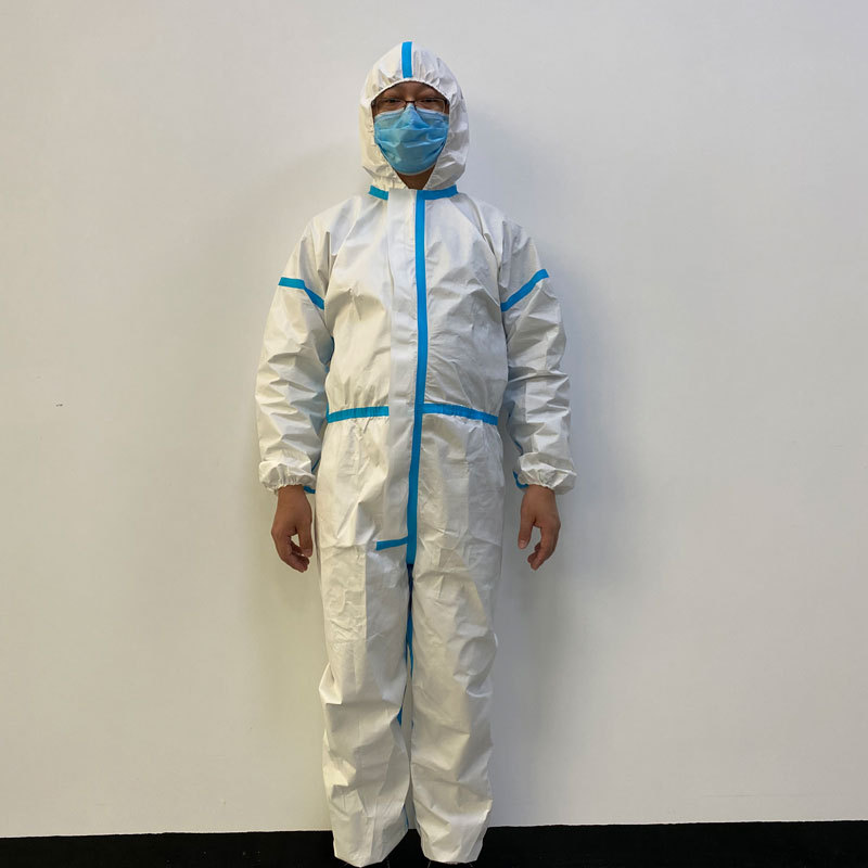 MUTUZHE Trang phục bảo hộ  áo bảo hộ dùng một lần Quần áo cách ly không thấm nước màu trắng không y