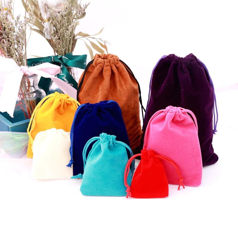 KoMee Túi đựng trang sức Đen Drawopes Flannel Bag Trang sức Túi lưu trữ Túi trang sức Túi quà tặng t