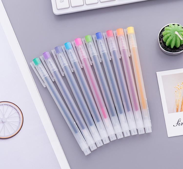Truecolor Bút nước Bút màu gel thật 0,5mm Màu kẹo đầy đủ bút chữ ký 12 màu nhỏ tay tươi cuốn sách mà