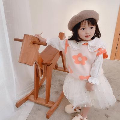 Áo Sơ-mi trẻ em Mùa xuân 2020 quần áo trẻ em gái dễ thương áo sơ mi ren trẻ em ren ve áo chạm đáy áo