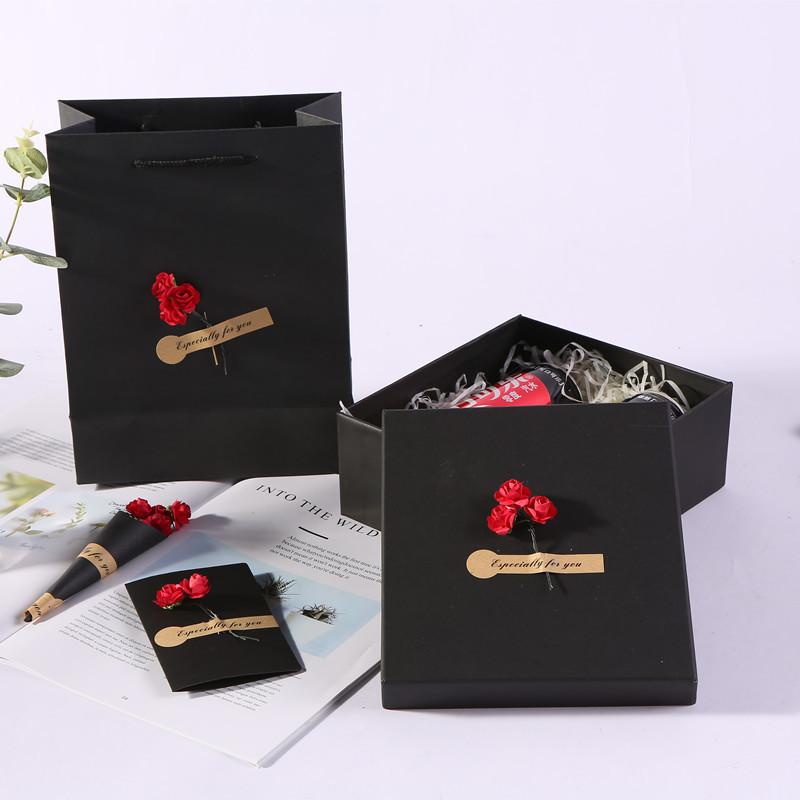 TENGYU Hộp quà tặng Tùy chỉnh hình chữ nhật thế giới bao gồm hộp quà tặng cola màu đen Giáng sinh hộ