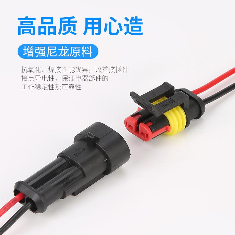 Giắc nối Bán trực tiếp nhà máy 2p 2 pin nam và nữ hoàn chỉnh với đầu nối xe chống nước dài 10CM