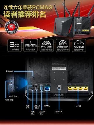 Asus Modom  / ASUS RT-AC86U không dây băng tần kép AC2900M Gigabit bộ định tuyến tường nhà tốc độ ca