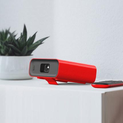 Tmall Cinema gia đình  Máy chiếu Tmall Elf nhà thông minh nhỏ màu đỏ hộp nhỏ cầm tay HD tường máy ch