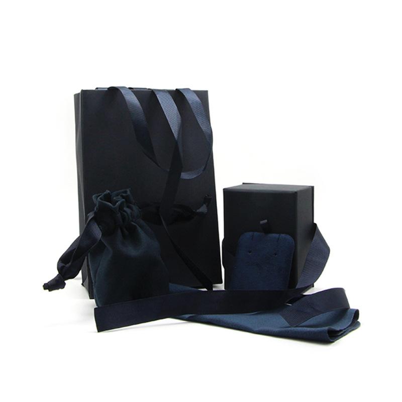 Hộp trang sức Nhà máy bán trực tiếp hộp đựng đồ trang sức nhung 4 miếng màu xanh mới đặt hộp quà tặn