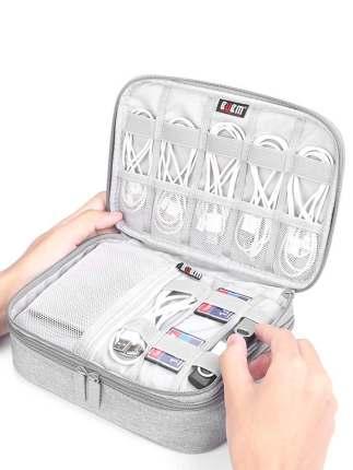 BUBM - Túi lưu trữ cáp dữ liệu với vỏ túi cứng đa năng nhiều ngăn lưu trữ .