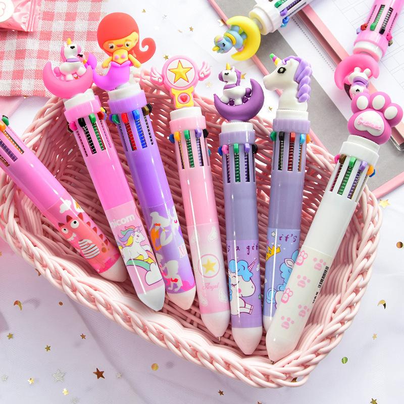 LUHAO Bút bi Dễ thương bút bi mười màu cô gái hoạt hình trái tim nhiều màu báo chí bút bi sinh viên