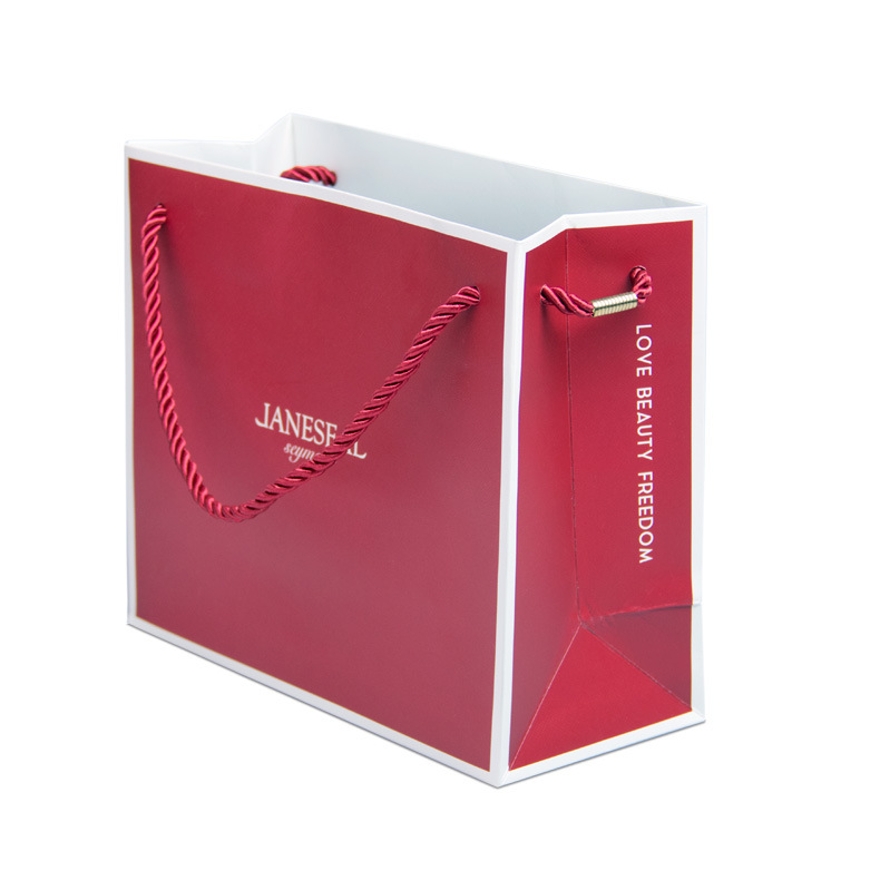HUAYU Túi giấy đựng quà Túi quà tặng sáng tạo tùy chỉnh túi trang sức màu đỏ quần áo túi xách mỹ phẩ