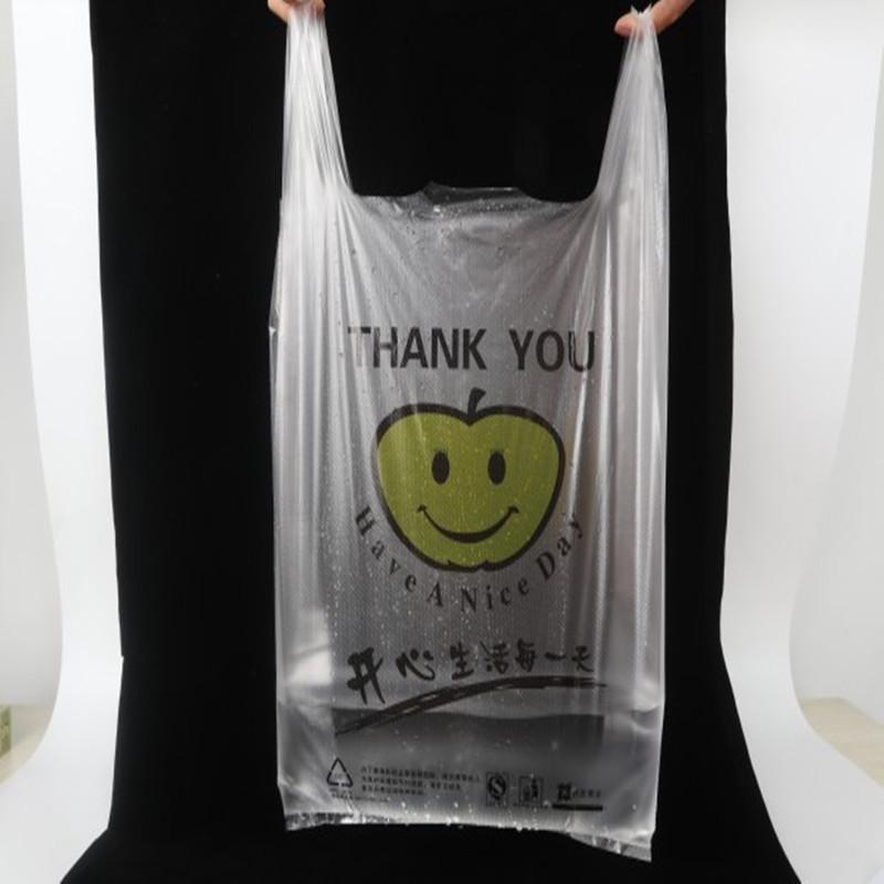 Túi xốp 2 quai Túi vest trong suốt cười tùy chỉnh làm siêu thị mua sắm takeaway bao bì túi tùy chỉnh