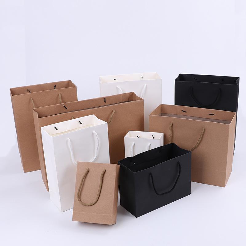 XIANGHENG Túi giấy đựng quà Túi giấy nói chung quà tặng quần áo túi mua sắm tùy chỉnh in trống LOGO