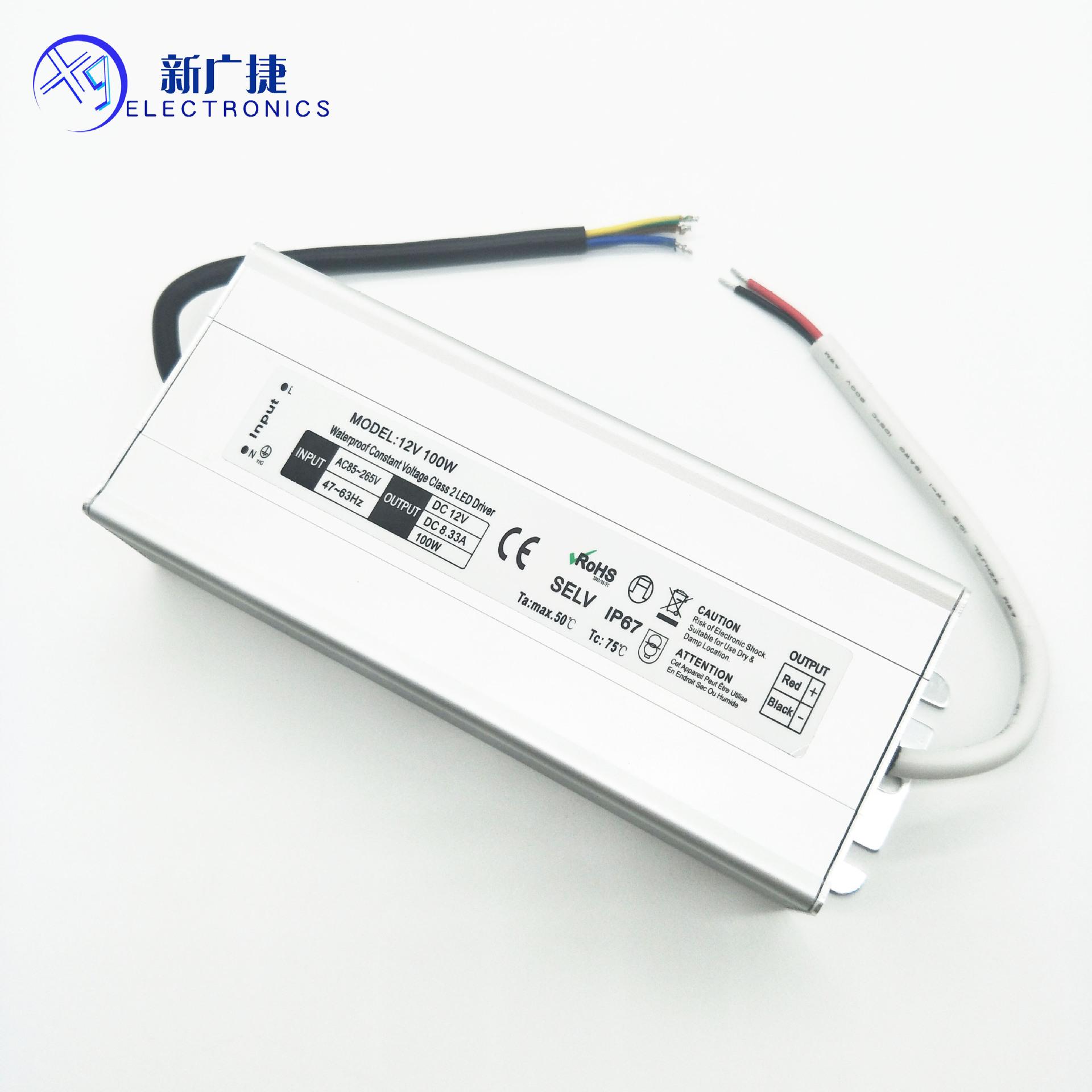 XINGUANGJIE Bộ nguồn cho đèn LED Nguồn cung cấp năng lượng chống nước LED 12V100W Ổ đĩa điện áp liên