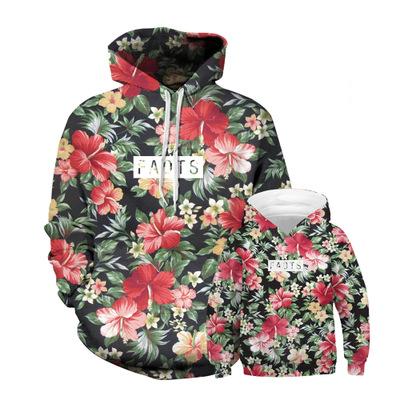 MIDUO Áo thun gia đình Mùa thu và mùa đông hoa mới in kỹ thuật số áo len trùm đầu áo thể thao cha mẹ