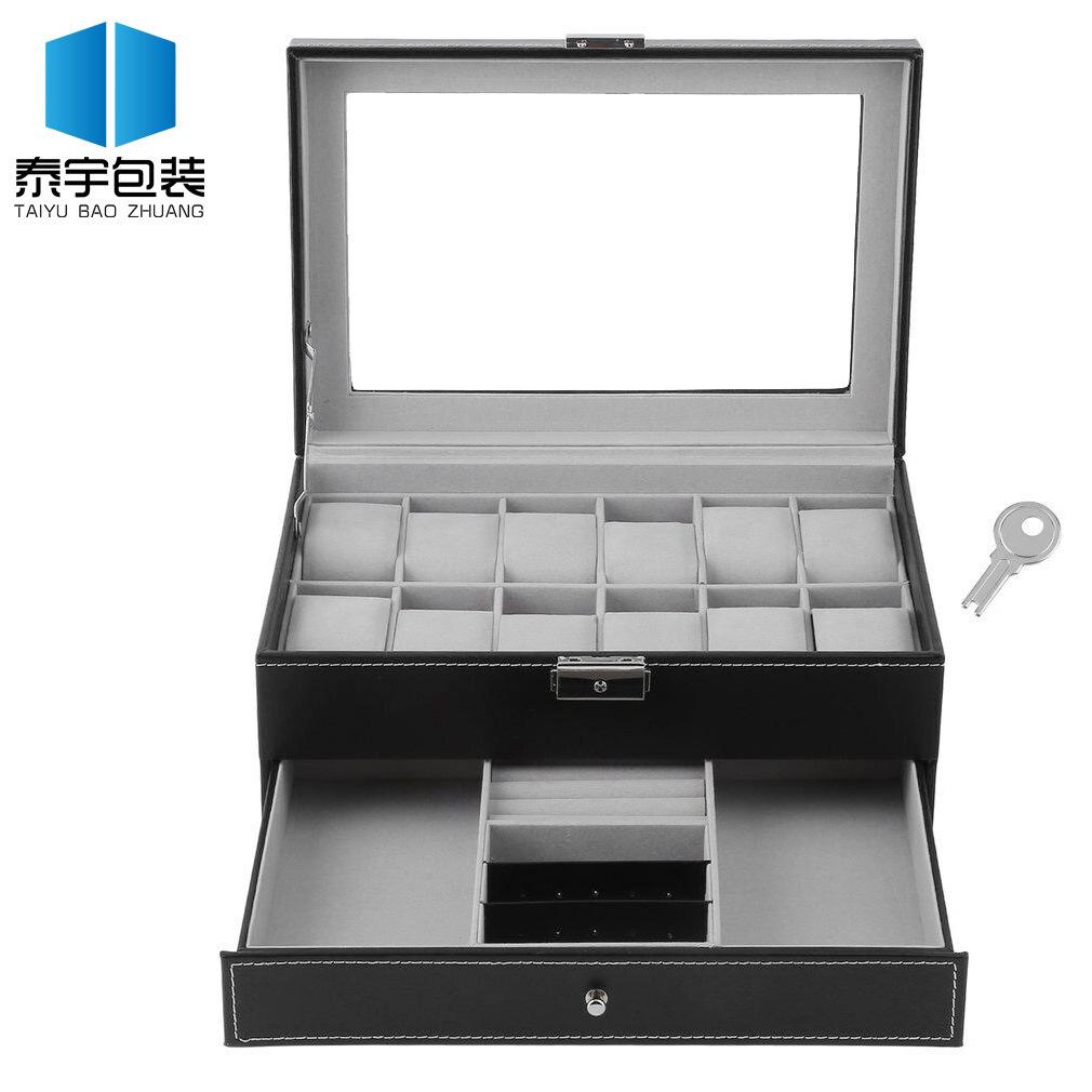 Hộp trang sức hai lớp hộp đồng hồ hộp nhà máy bán buôn đồng hồ hộp trang sức cửa sổ 12-bit hộp tùy c