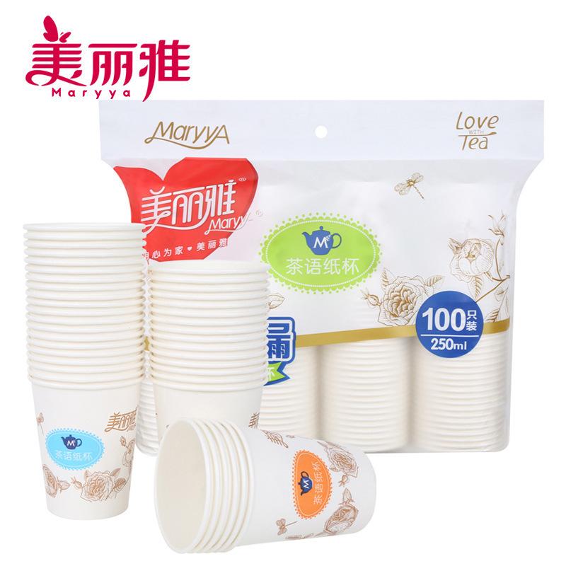 MEILIYA Ly giấy Mela 9oz 100 ly giấy 250ml trà ngôn ngữ loạt dùng một lần